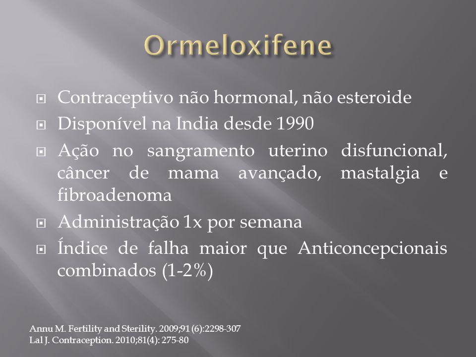  Contraceptivo não hormonal, não esteroide  Disponível na India desde 1990  Ação no sangramento uterino disfuncional, câncer de mama avançado, mast