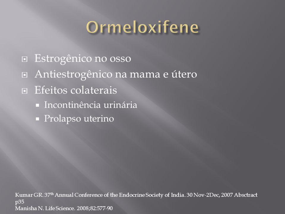  Estrogênico no osso  Antiestrogênico na mama e útero  Efeitos colaterais  Incontinência urinária  Prolapso uterino Kumar GR. 37 th Annual Confer