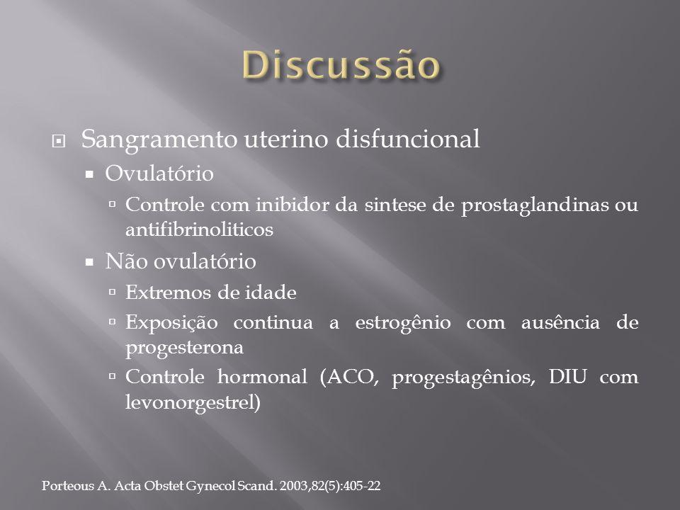  Sangramento uterino disfuncional  Ovulatório  Controle com inibidor da sintese de prostaglandinas ou antifibrinoliticos  Não ovulatório  Extremo