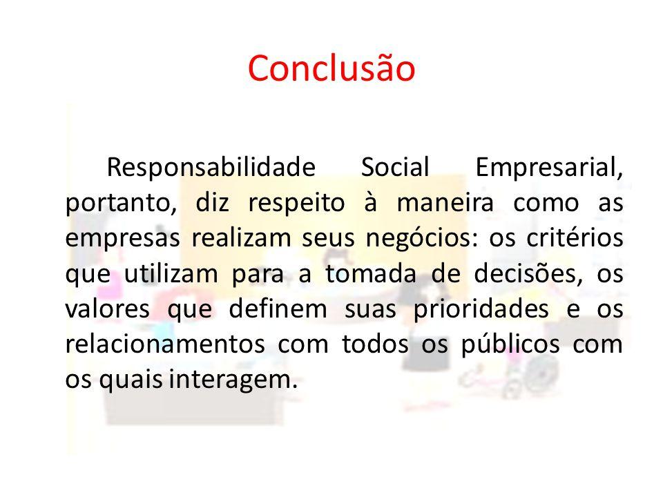 Conclusão Responsabilidade Social Empresarial, portanto, diz respeito à maneira como as empresas realizam seus negócios: os critérios que utilizam para a tomada de decisões, os valores que definem suas prioridades e os relacionamentos com todos os públicos com os quais interagem.