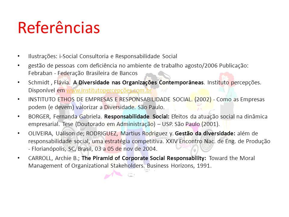 Referências Ilustrações: i-Social Consultoria e Responsabilidade Social gestão de pessoas com deficiência no ambiente de trabalho agosto/2006 Publicação: Febraban - Federação Brasileira de Bancos Schmidt, Flávia.