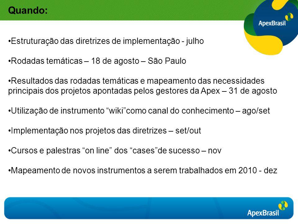 Quando: Estruturação das diretrizes de implementação - julho Rodadas temáticas – 18 de agosto – São Paulo Resultados das rodadas temáticas e mapeament