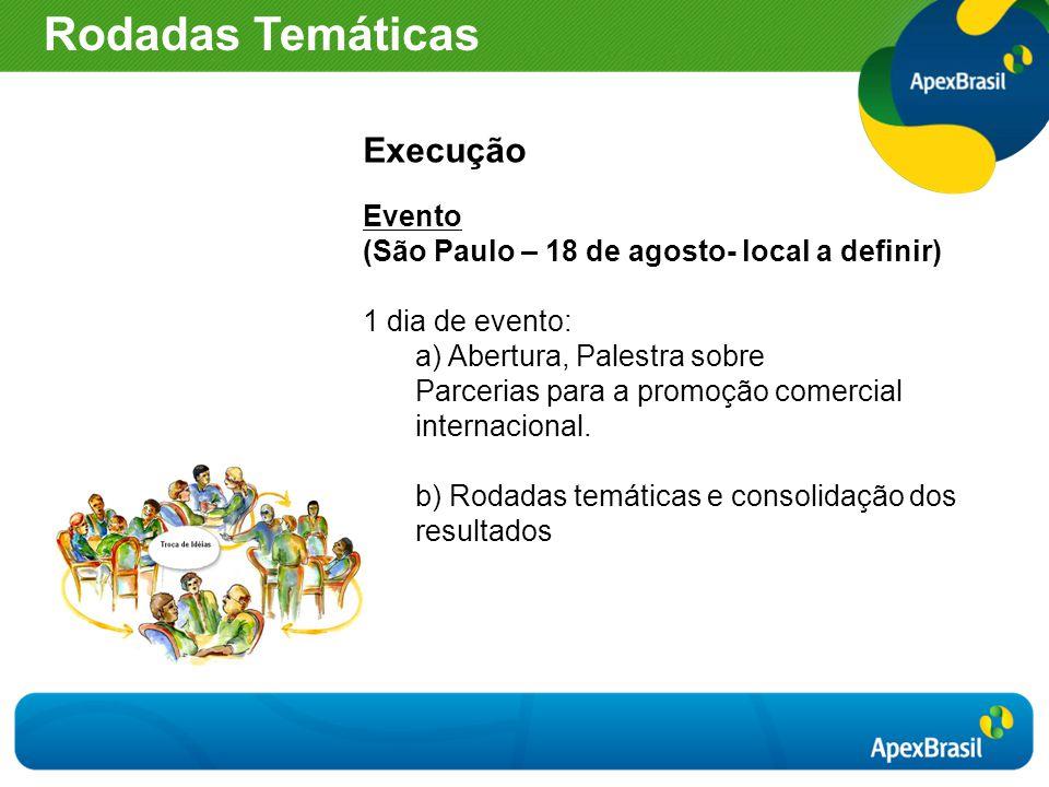 Execução Evento (São Paulo – 18 de agosto- local a definir) 1 dia de evento: a) Abertura, Palestra sobre Parcerias para a promoção comercial internaci