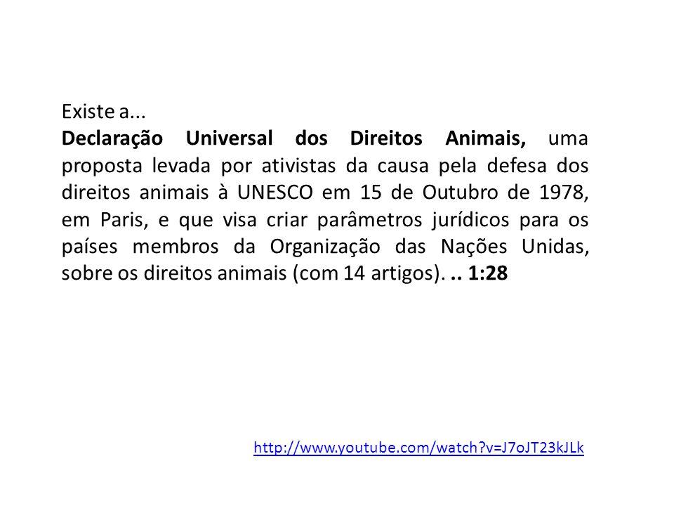 http://www.youtube.com/watch?v=J7oJT23kJLk Existe a... Declaração Universal dos Direitos Animais, uma proposta levada por ativistas da causa pela defe