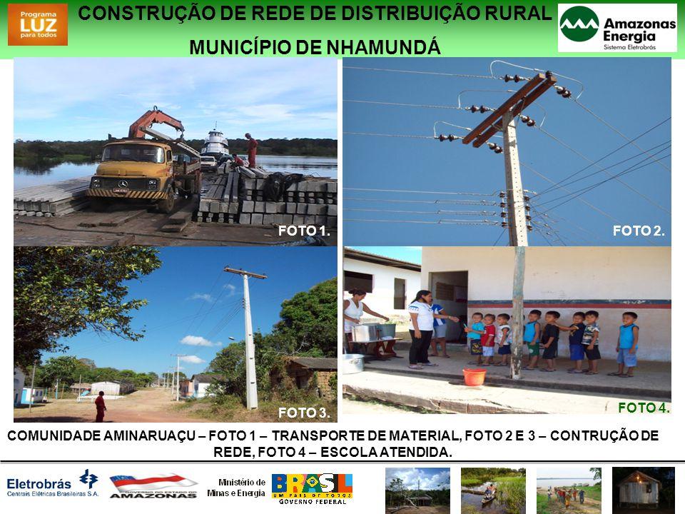 CONSTRUÇÃO DE REDE DE DISTRIBUIÇÃO RURAL MUNICÍPIO DE NHAMUNDÁ COMUNIDADE AMINARUAÇU – FOTO 1 – TRANSPORTE DE MATERIAL, FOTO 2 E 3 – CONTRUÇÃO DE REDE, FOTO 4 – ESCOLA ATENDIDA.