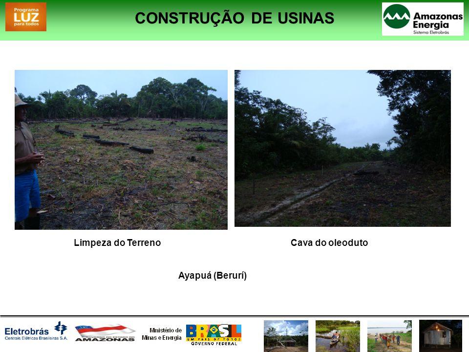 CONSTRUÇÃO DE USINAS Limpeza do TerrenoCava do oleoduto Ayapuá (Berurí)