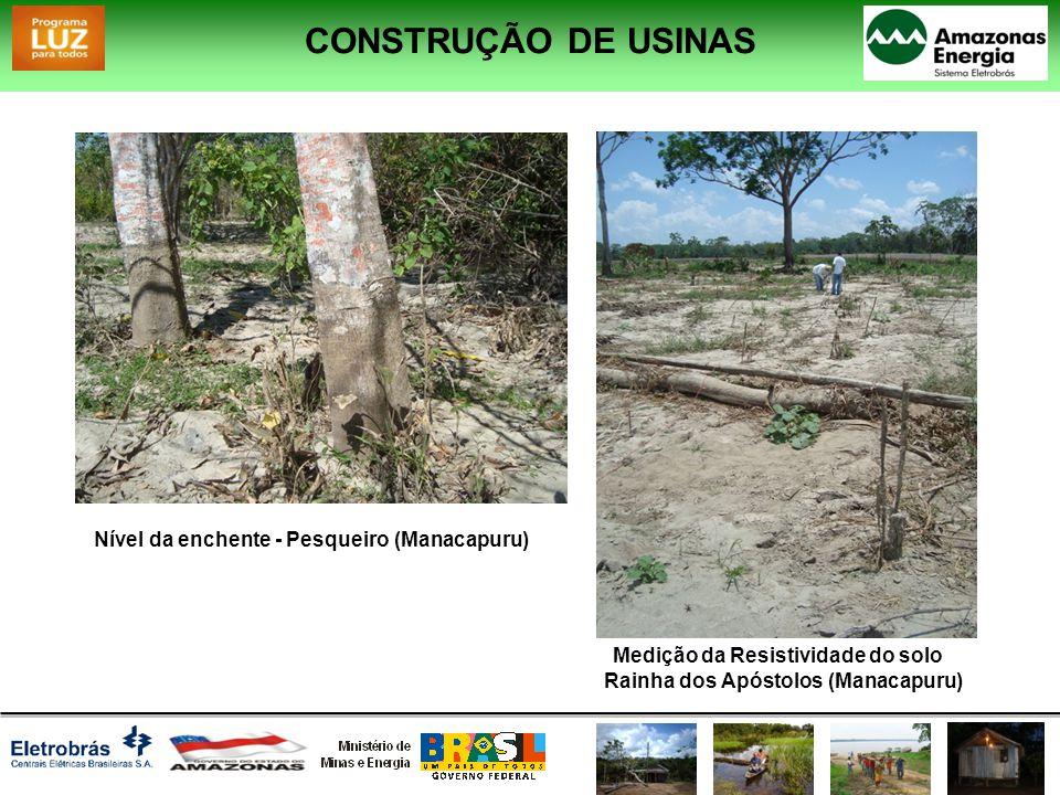 Nível da enchente - Pesqueiro (Manacapuru) Medição da Resistividade do solo Rainha dos Apóstolos (Manacapuru) CONSTRUÇÃO DE USINAS