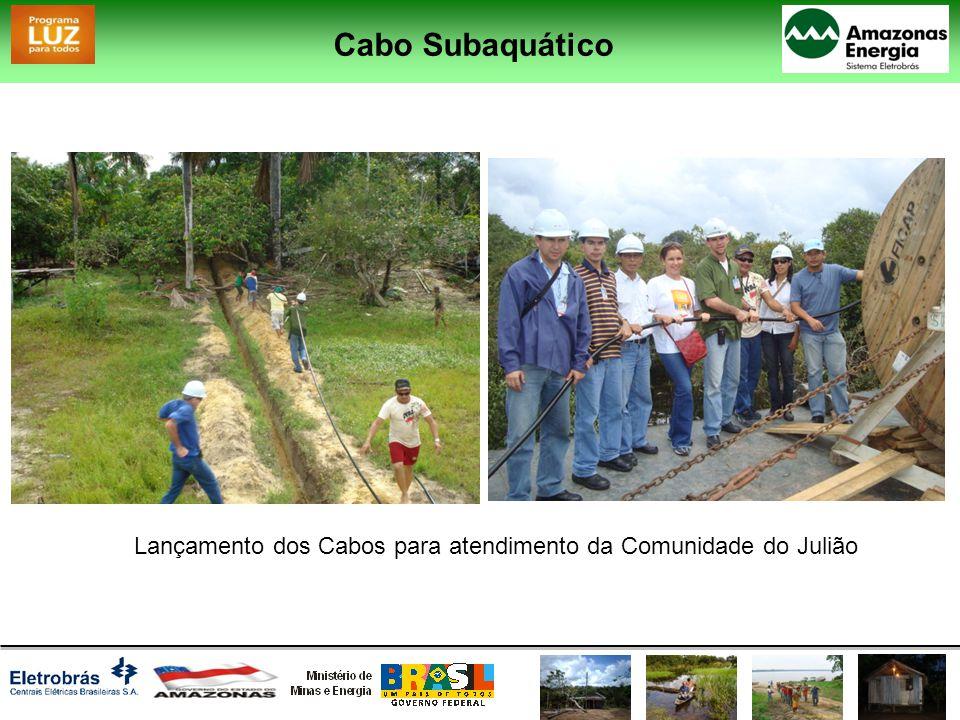 Cabo Subaquático Lançamento dos Cabos para atendimento da Comunidade Agrovila