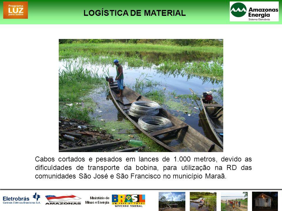 Cabos cortados e pesados em lances de 1.000 metros, devido as dificuldades de transporte da bobina, para utilização na RD das comunidades São José e S