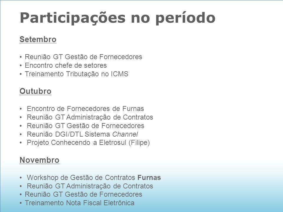 Participações no período Setembro Reunião GT Gestão de Fornecedores Encontro chefe de setores Treinamento Tributação no ICMS Outubro Encontro de Forne