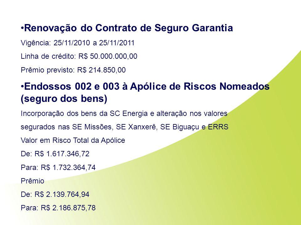 Renovação do Contrato de Seguro Garantia Vigência: 25/11/2010 a 25/11/2011 Linha de crédito: R$ 50.000.000,00 Prêmio previsto: R$ 214.850,00 Endossos