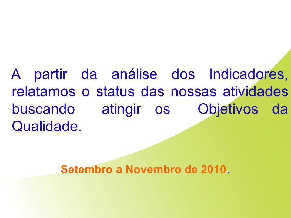 A partir da análise dos Indicadores, relatamos o status das nossas atividades buscando atingir os Objetivos da Qualidade. Setembro a Novembro de 2010.