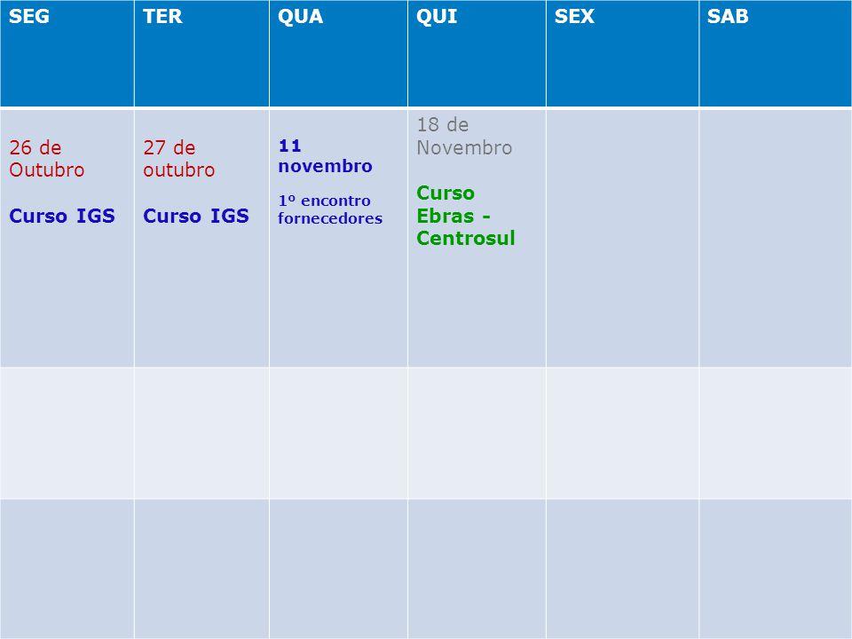 SEGTERQUAQUISEXSAB 26 de Outubro Curso IGS 27 de outubro Curso IGS 11 novembro 1º encontro fornecedores 18 de Novembro Curso Ebras - Centrosul