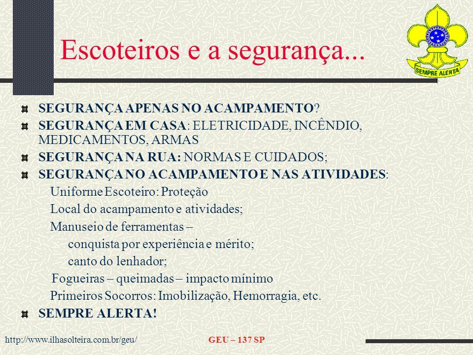 http://www.ilhasolteira.com.br/geu/GEU – 137 SP Escoteiros e a segurança...
