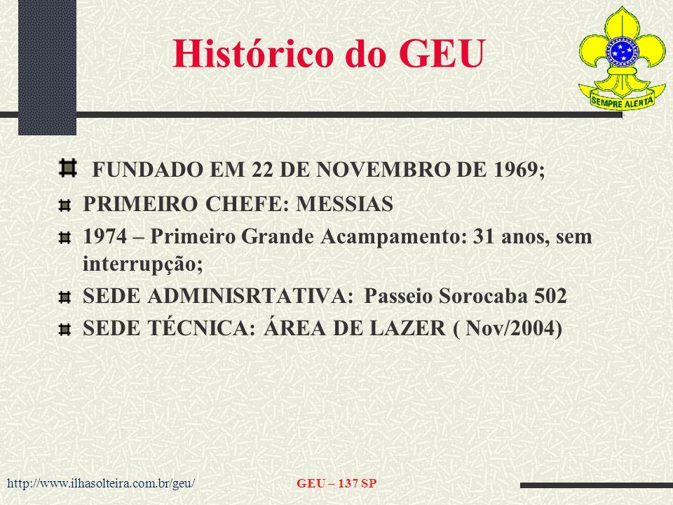 http://www.ilhasolteira.com.br/geu/GEU – 137 SP Histórico do GEU FUNDADO EM 22 DE NOVEMBRO DE 1969; PRIMEIRO CHEFE: MESSIAS 1974 – Primeiro Grande Acampamento: 31 anos, sem interrupção; SEDE ADMINISRTATIVA: Passeio Sorocaba 502 SEDE TÉCNICA: ÁREA DE LAZER ( Nov/2004)