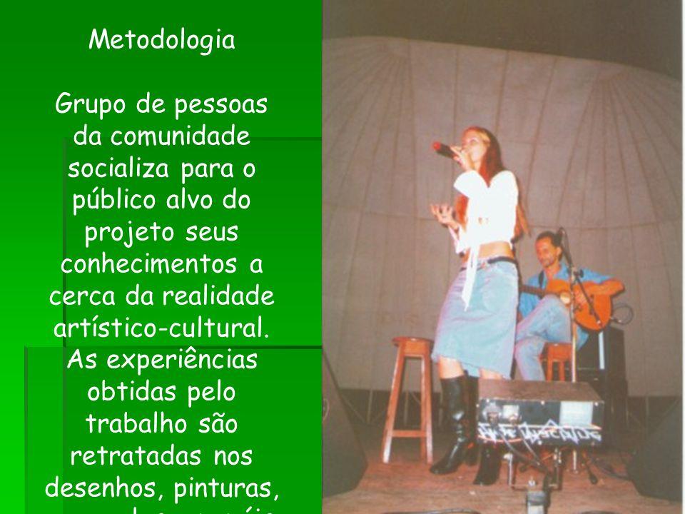Metodologia Grupo de pessoas da comunidade socializa para o público alvo do projeto seus conhecimentos a cerca da realidade artístico-cultural. As exp
