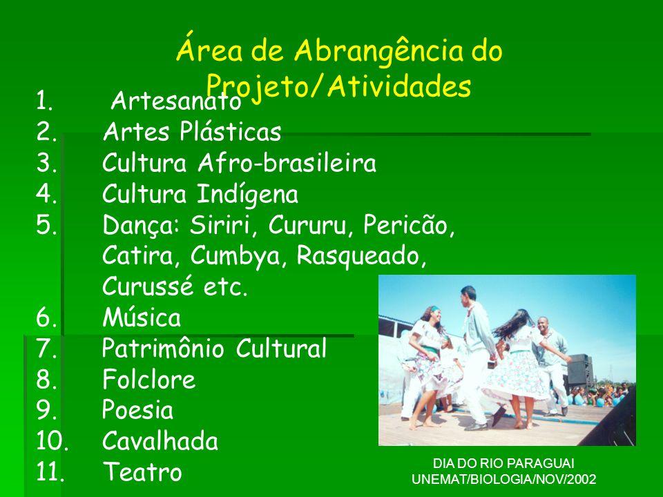 Área de Abrangência do Projeto/Atividades 1. Artesanato 2.Artes Plásticas 3.Cultura Afro-brasileira 4.Cultura Indígena 5.Dança: Siriri, Cururu, Pericã