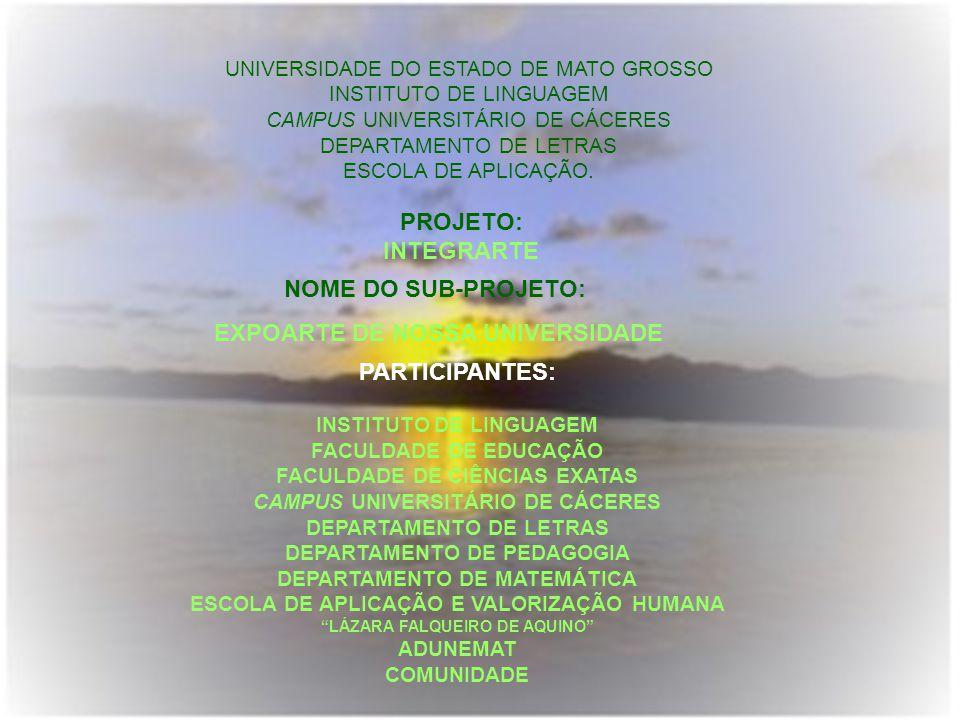 UNIVERSIDADE DO ESTADO DE MATO GROSSO INSTITUTO DE LINGUAGEM CAMPUS UNIVERSITÁRIO DE CÁCERES DEPARTAMENTO DE LETRAS ESCOLA DE APLICAÇÃO. PROJETO: INTE