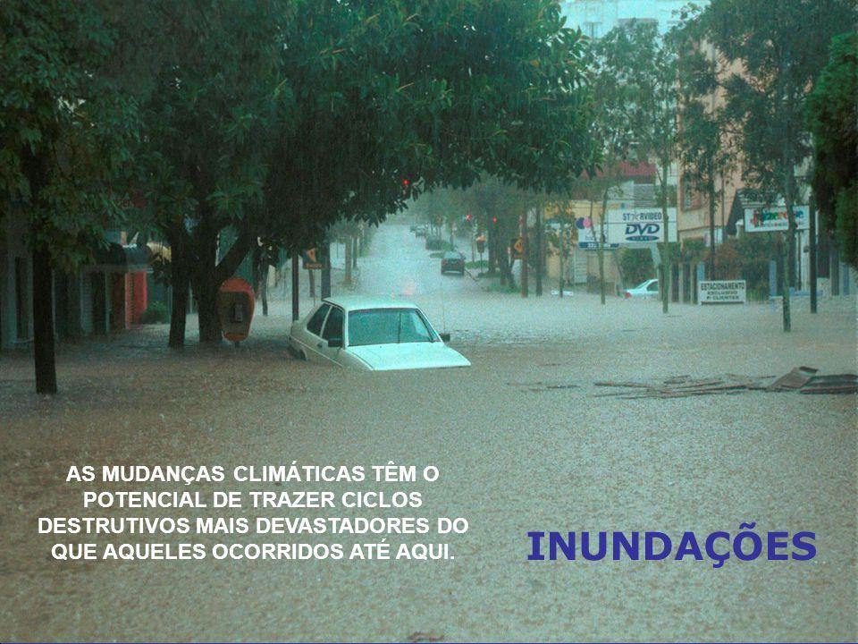 INUNDAÇÕES AS MUDANÇAS CLIMÁTICAS TÊM O POTENCIAL DE TRAZER CICLOS DESTRUTIVOS MAIS DEVASTADORES DO QUE AQUELES OCORRIDOS ATÉ AQUI.