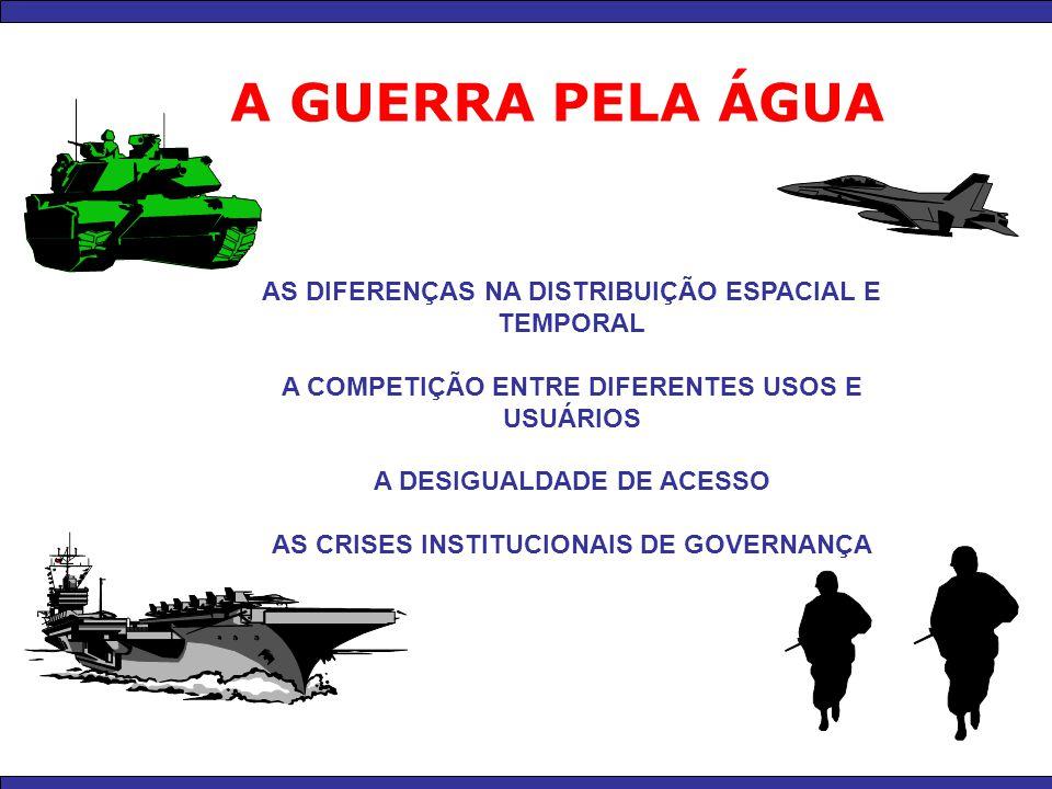 A GUERRA PELA ÁGUA AS DIFERENÇAS NA DISTRIBUIÇÃO ESPACIAL E TEMPORAL A COMPETIÇÃO ENTRE DIFERENTES USOS E USUÁRIOS A DESIGUALDADE DE ACESSO AS CRISES