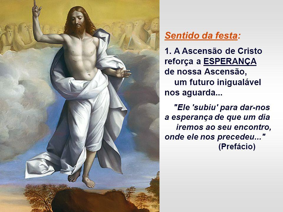 - No Pentecostes: A Ação do ESPÍRITO SANTO na Igreja, que começa a sua atividade missionária de novo Povo de Deus... A ASCENSÃO não é uma narrativa hi
