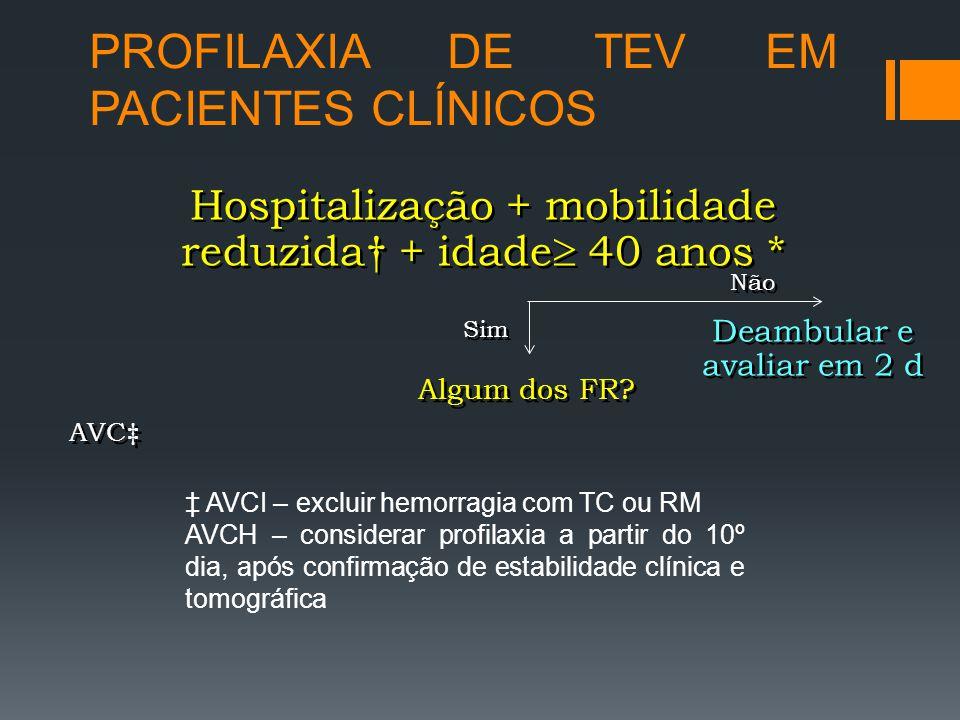PROFILAXIA DE TEV EM PACIENTES CLÍNICOS Hospitalização + mobilidade reduzida† + idade  40 anos * Sim Não Deambular e avaliar em 2 d Algum dos FR.
