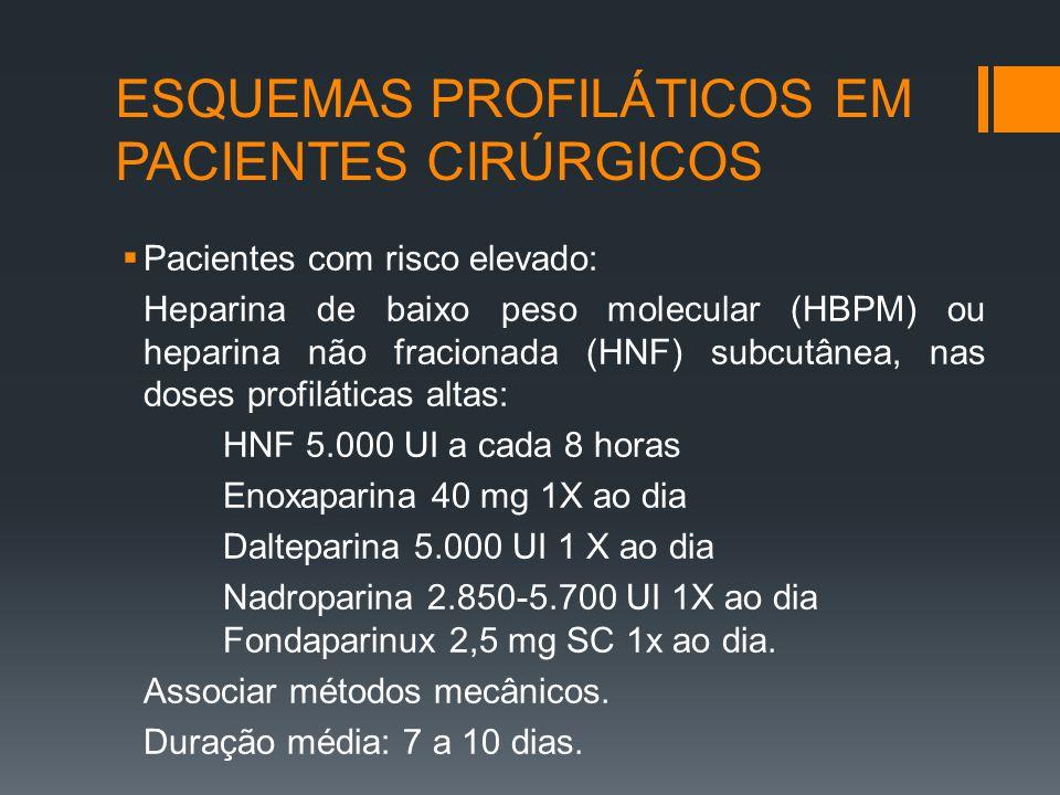 ESQUEMAS PROFILÁTICOS EM PACIENTES CIRÚRGICOS  Pacientes com risco elevado: Heparina de baixo peso molecular (HBPM) ou heparina não fracionada (HNF) subcutânea, nas doses profiláticas altas: HNF 5.000 UI a cada 8 horas Enoxaparina 40 mg 1X ao dia Dalteparina 5.000 UI 1 X ao dia Nadroparina 2.850-5.700 UI 1X ao dia Fondaparinux 2,5 mg SC 1x ao dia.