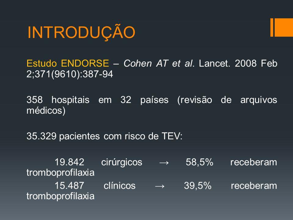 PROFILAXIA DE TEV EM PACIENTES CIRÚRGICOS -Cirurgia bariátrica: alto risco de TEV → métodos mecânicos + farmacológicos (enoxaparina 40mg 2 x dia); -Cirurgias ortopédicas maiores: alta incidência de TEV – HBPM, Dabigatrana, Rivaroxabana ou AVK (RNI 2-3).