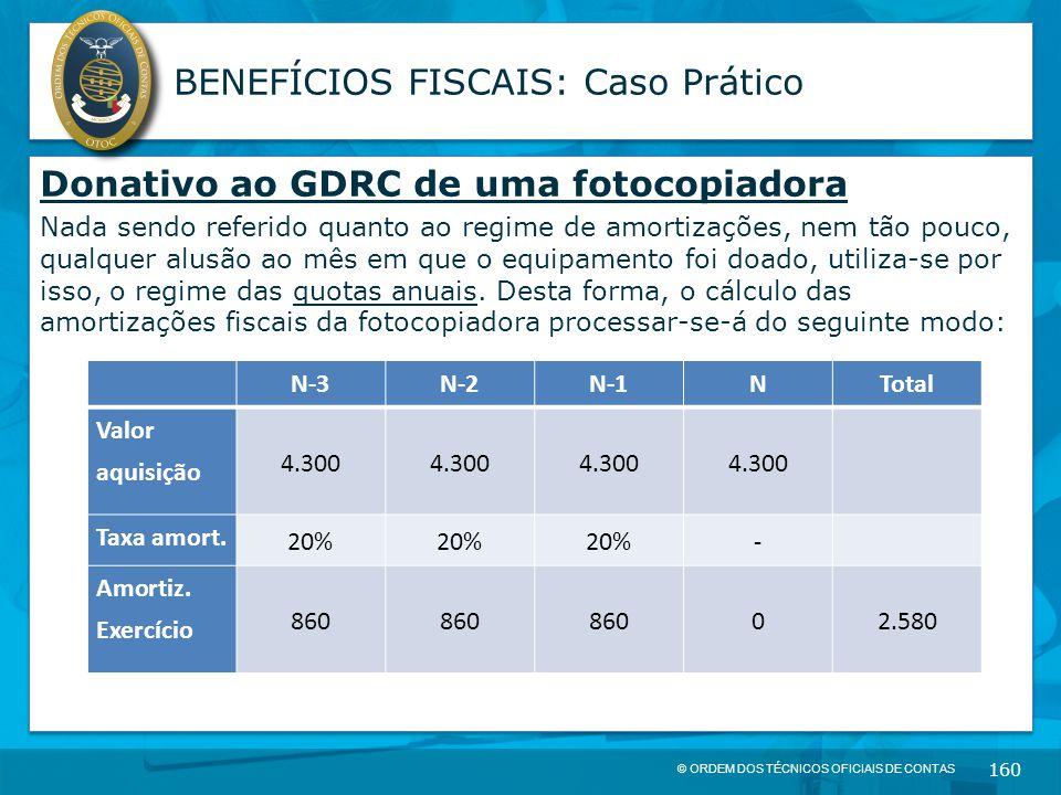 © ORDEM DOS TÉCNICOS OFICIAIS DE CONTAS 160 BENEFÍCIOS FISCAIS: Caso Prático Donativo ao GDRC de uma fotocopiadora Nada sendo referido quanto ao regim
