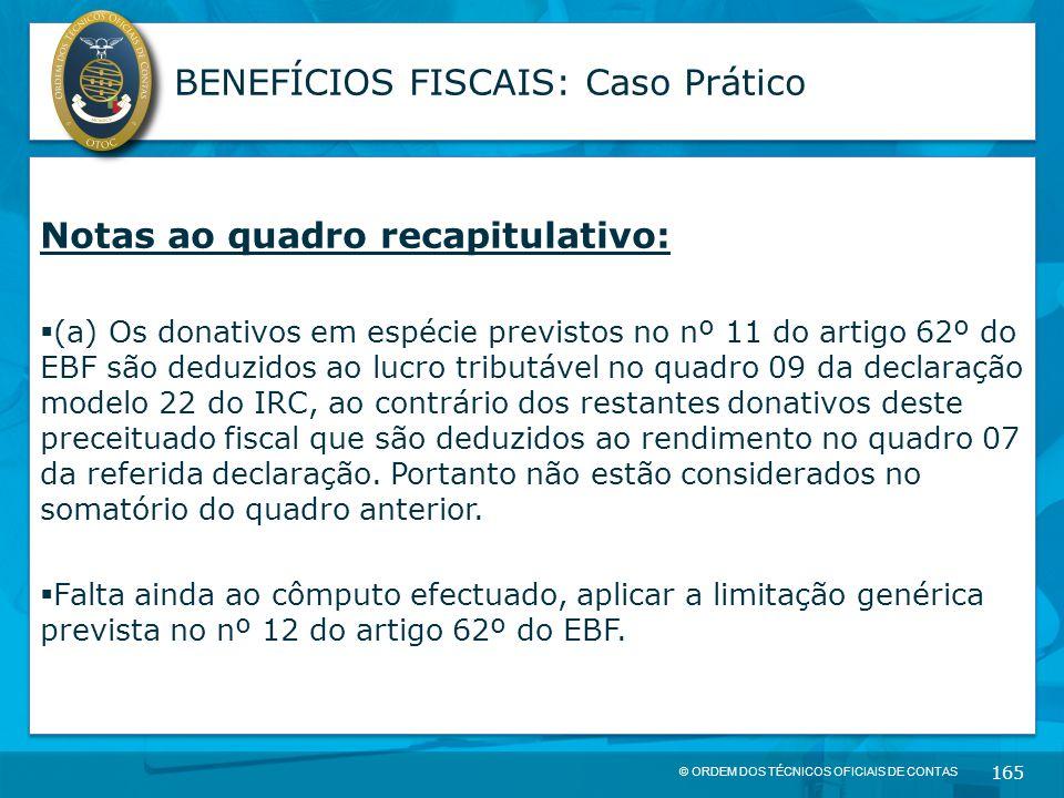 © ORDEM DOS TÉCNICOS OFICIAIS DE CONTAS 165 BENEFÍCIOS FISCAIS: Caso Prático Notas ao quadro recapitulativo:  (a) Os donativos em espécie previstos n