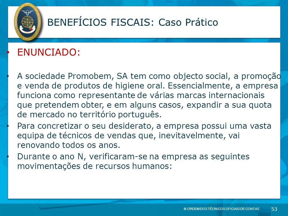 © ORDEM DOS TÉCNICOS OFICIAIS DE CONTAS 53 BENEFÍCIOS FISCAIS: Caso Prático ENUNCIADO: A sociedade Promobem, SA tem como objecto social, a promoção e