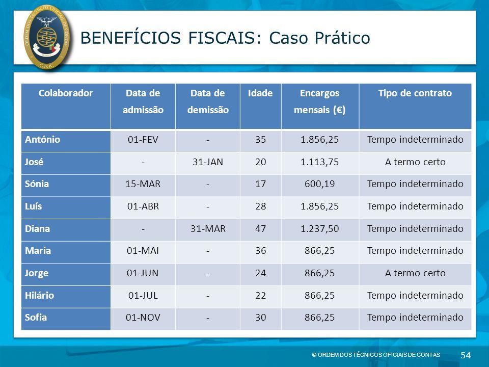 © ORDEM DOS TÉCNICOS OFICIAIS DE CONTAS 54 BENEFÍCIOS FISCAIS: Caso Prático Colaborador Data de admissão Data de demissão Idade Encargos mensais (€) T