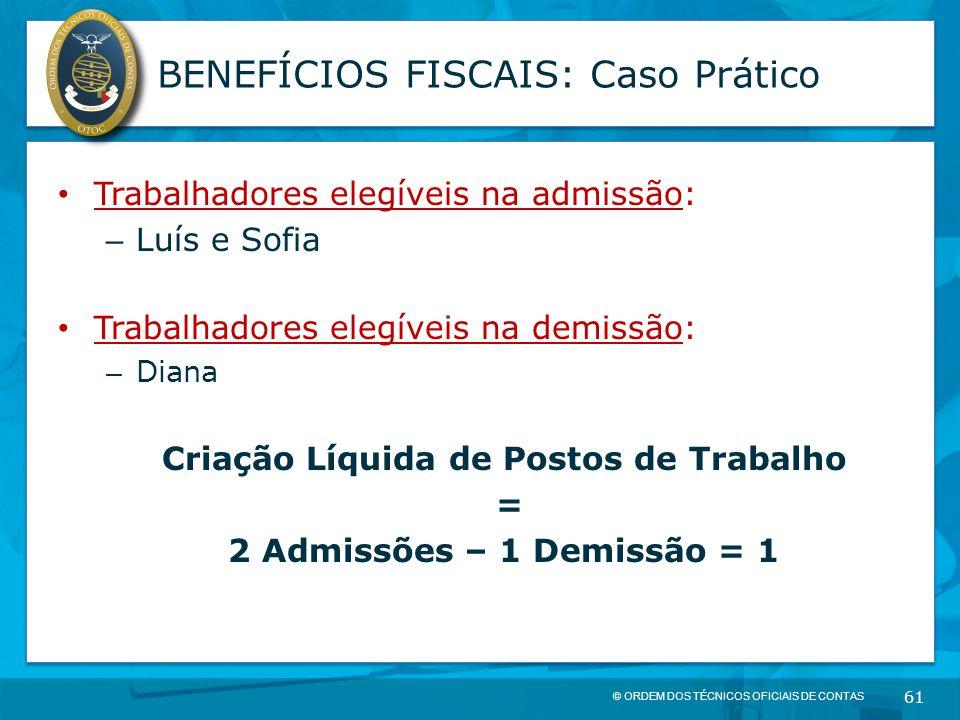© ORDEM DOS TÉCNICOS OFICIAIS DE CONTAS 61 BENEFÍCIOS FISCAIS: Caso Prático Trabalhadores elegíveis na admissão: – Luís e Sofia Trabalhadores elegívei