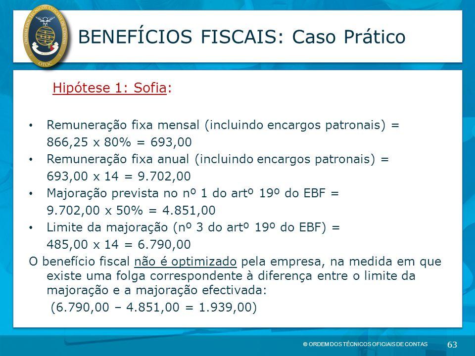 © ORDEM DOS TÉCNICOS OFICIAIS DE CONTAS 63 BENEFÍCIOS FISCAIS: Caso Prático Hipótese 1: Sofia: Remuneração fixa mensal (incluindo encargos patronais)