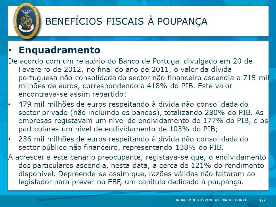 © ORDEM DOS TÉCNICOS OFICIAIS DE CONTAS 67 BENEFÍCIOS FISCAIS À POUPANÇA Enquadramento De acordo com um relatório do Banco de Portugal divulgado em 20