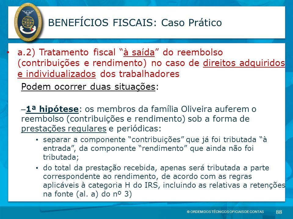 """© ORDEM DOS TÉCNICOS OFICIAIS DE CONTAS 88 BENEFÍCIOS FISCAIS: Caso Prático a.2) Tratamento fiscal """"à saída"""" do reembolso (contribuições e rendimento)"""