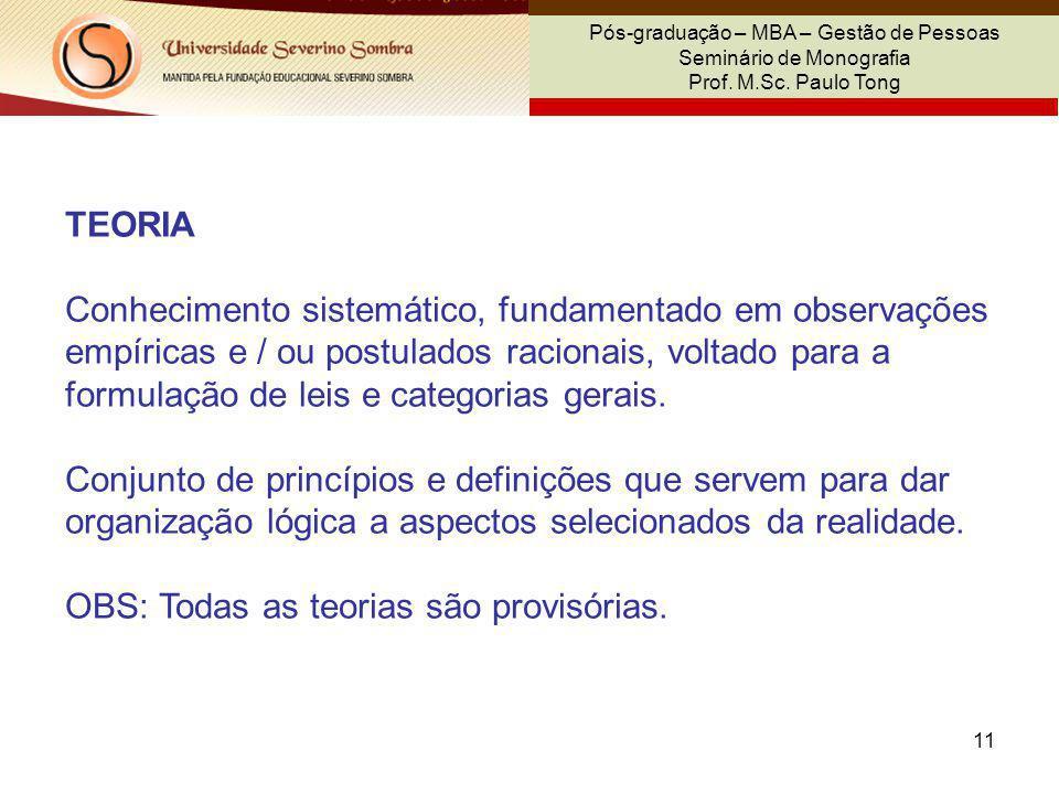 11 Pós-graduação – MBA – Gestão de Pessoas Seminário de Monografia Prof. M.Sc. Paulo Tong TEORIA Conhecimento sistemático, fundamentado em observações