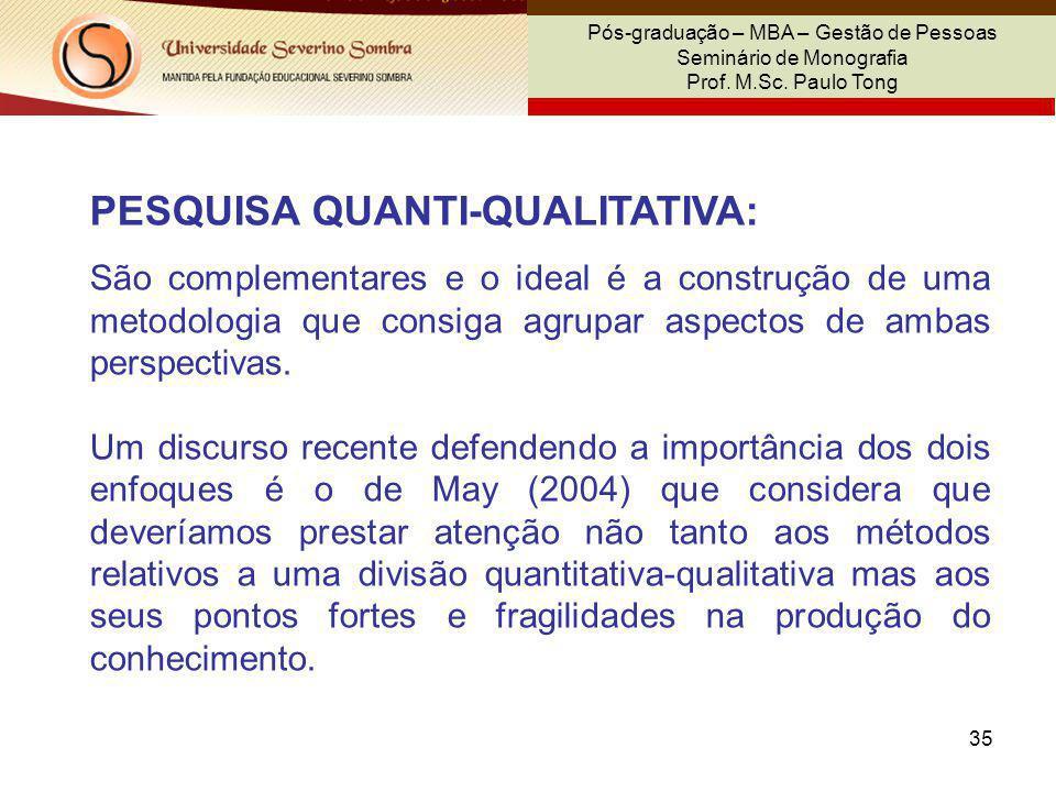 35 Pós-graduação – MBA – Gestão de Pessoas Seminário de Monografia Prof. M.Sc. Paulo Tong PESQUISA QUANTI-QUALITATIVA: São complementares e o ideal é