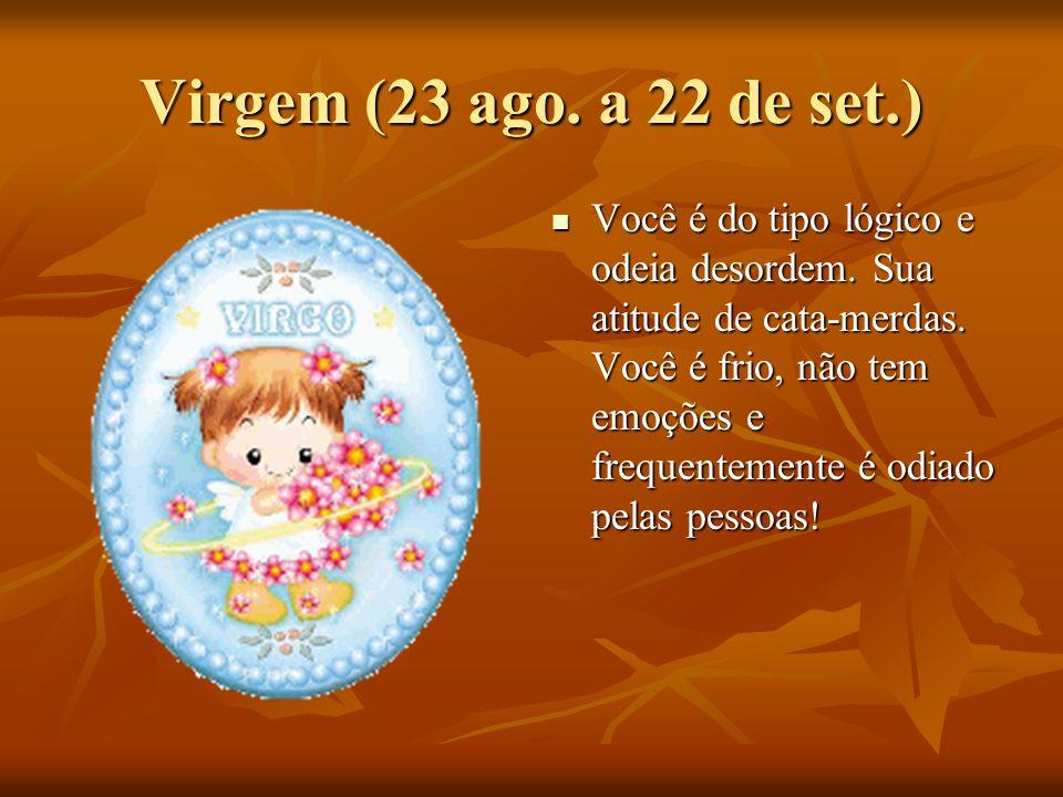 Virgem (23 ago.a 22 de set.) Você é do tipo lógico e odeia desordem.
