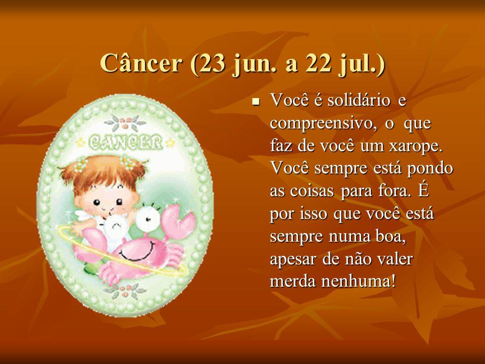 Câncer (23 jun.a 22 jul.) Você é solidário e compreensivo, o que faz de você um xarope.