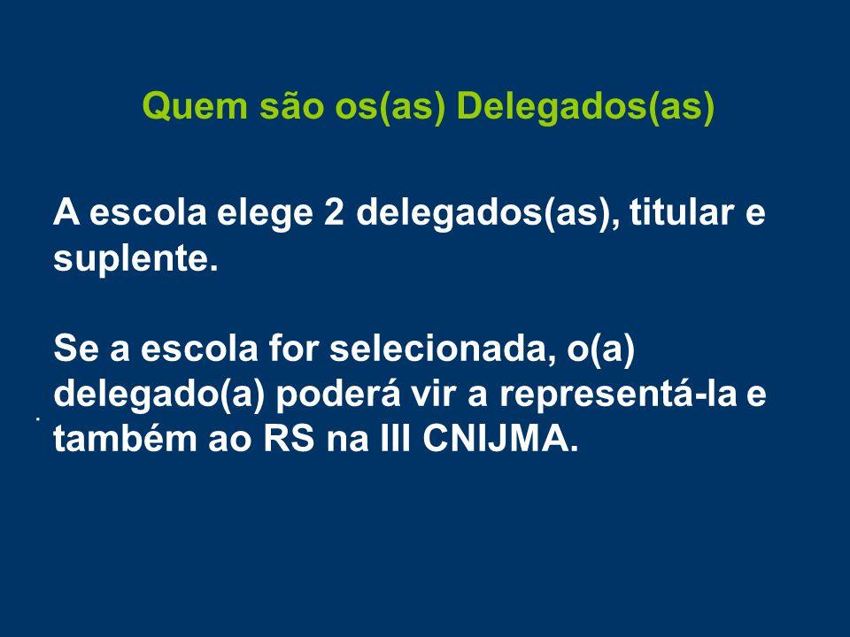 Quem são os(as) Delegados(as). A escola elege 2 delegados(as), titular e suplente.