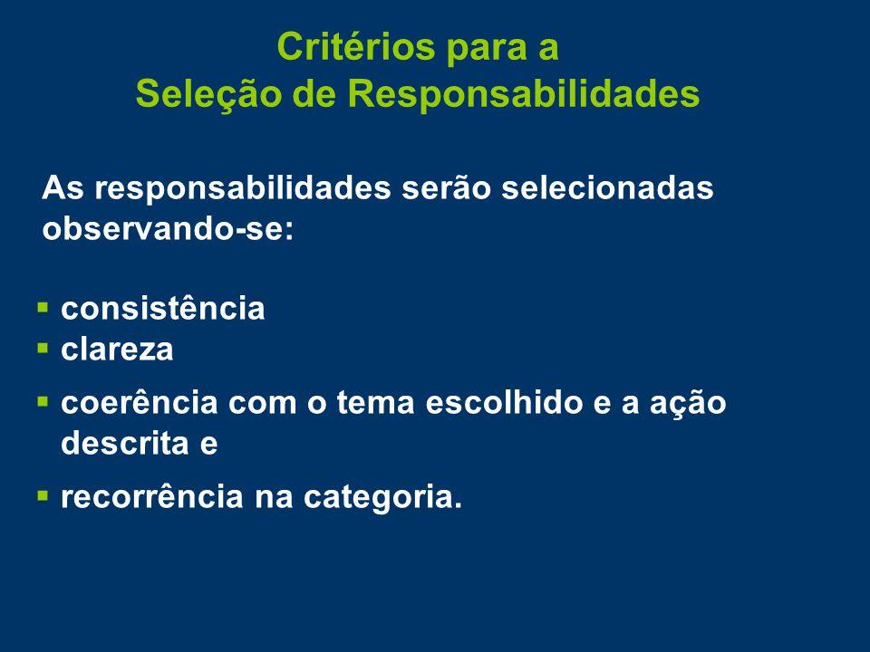 Critérios para a Seleção de Responsabilidades As responsabilidades serão selecionadas observando-se:  consistência  clareza  coerência com o tema escolhido e a ação descrita e  recorrência na categoria.