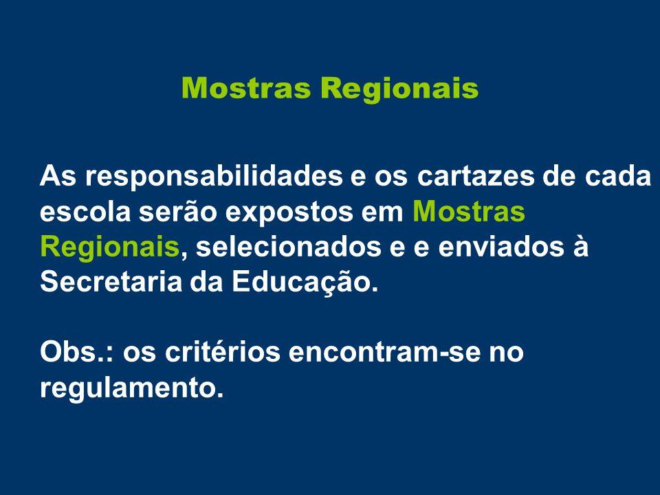 Mostras Regionais As responsabilidades e os cartazes de cada escola serão expostos em Mostras Regionais, selecionados e e enviados à Secretaria da Educação.