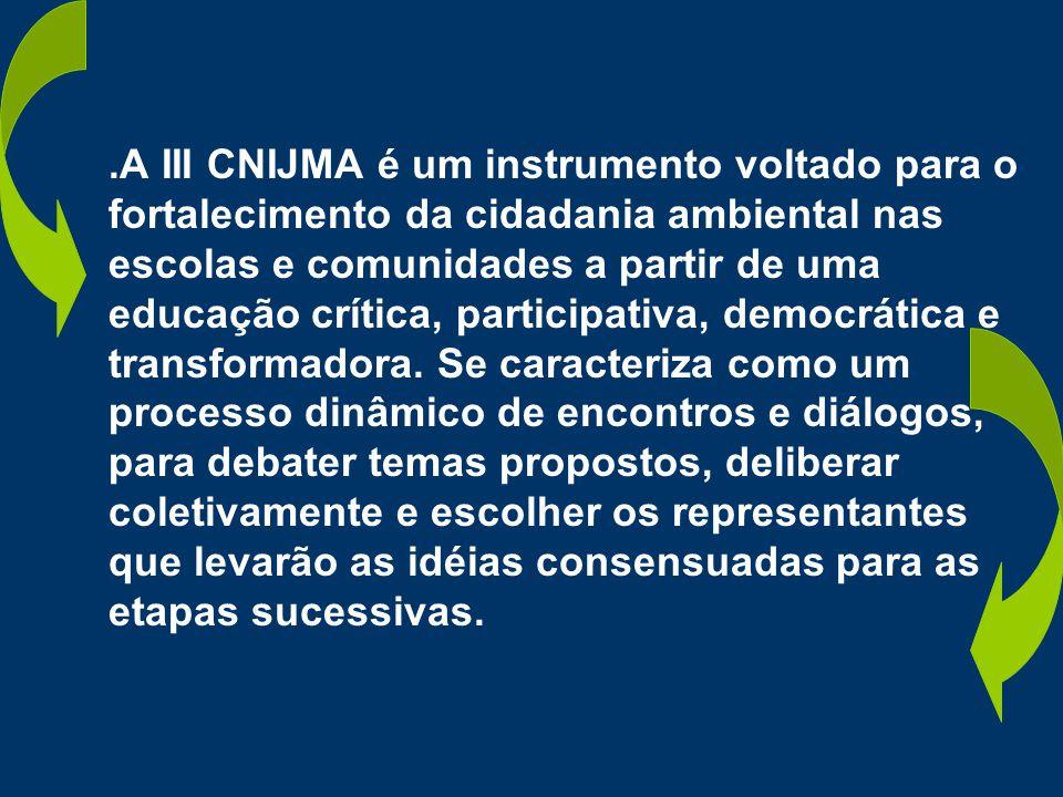 .A III CNIJMA é um instrumento voltado para o fortalecimento da cidadania ambiental nas escolas e comunidades a partir de uma educação crítica, participativa, democrática e transformadora.
