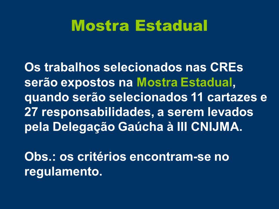 Mostra Estadual Os trabalhos selecionados nas CREs serão expostos na Mostra Estadual, quando serão selecionados 11 cartazes e 27 responsabilidades, a serem levados pela Delegação Gaúcha à III CNIJMA.