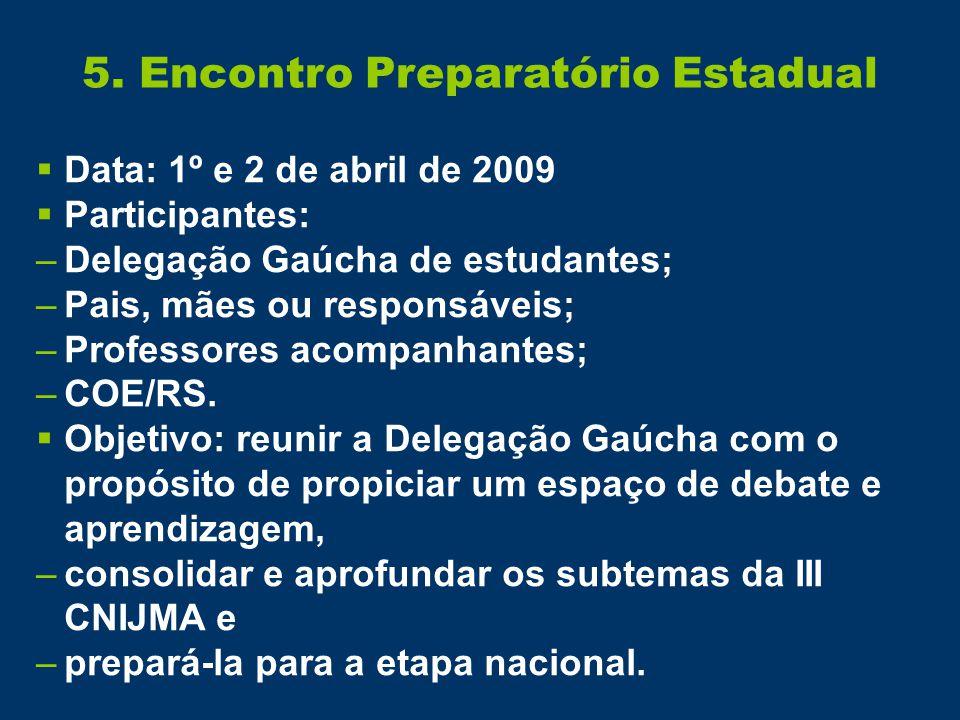 5. Encontro Preparatório Estadual  Data: 1º e 2 de abril de 2009  Participantes: –Delegação Gaúcha de estudantes; –Pais, mães ou responsáveis; –Prof