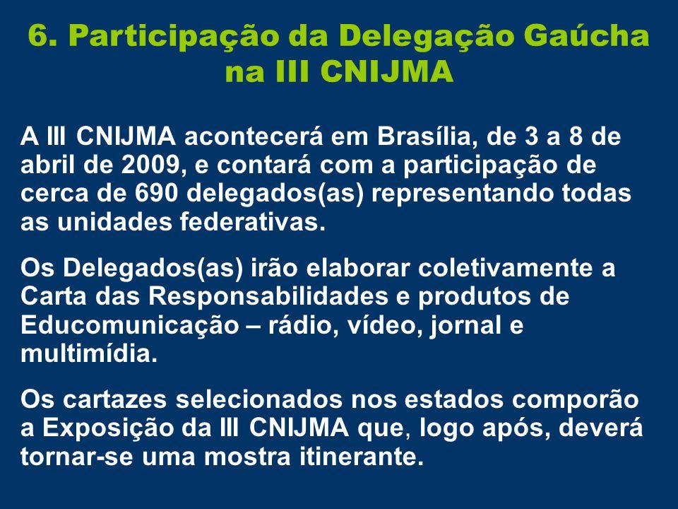 6. Participação da Delegação Gaúcha na III CNIJMA A III CNIJMA acontecerá em Brasília, de 3 a 8 de abril de 2009, e contará com a participação de cerc