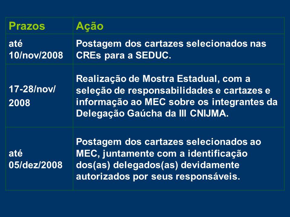 PrazosAção até 10/nov/2008 Postagem dos cartazes selecionados nas CREs para a SEDUC.