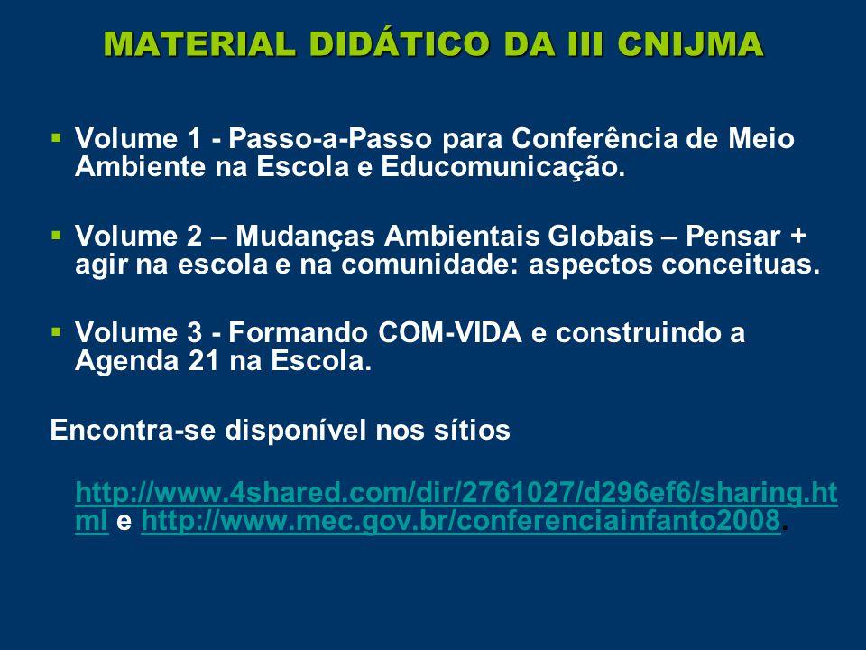 MATERIAL DIDÁTICO DA III CNIJMA  Volume 1 - Passo-a-Passo para Conferência de Meio Ambiente na Escola e Educomunicação.