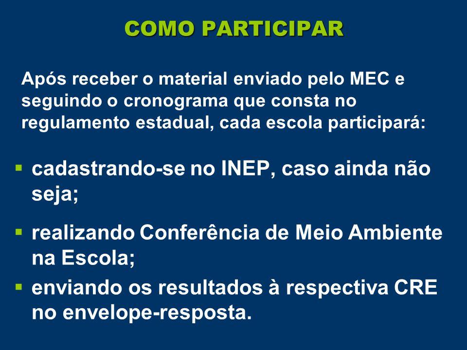  cadastrando-se no INEP, caso ainda não seja;  realizando Conferência de Meio Ambiente na Escola;  enviando os resultados à respectiva CRE no envelope-resposta.